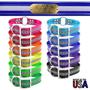 """21"""" Hunting Dog Name Collar Strap Heavy Duty Center Ring 1 1/2"""" Wide Reflective"""