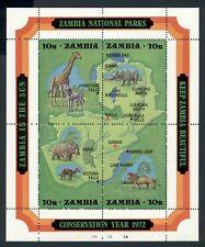Zambia Scott #85 MNH S/S Conservation Year 1972 MAP FAUNA CV$10+