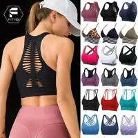 Women's Seamless Yoga Crop Top Sports Bra Padded Fitness Racerback Gym Workout A