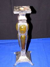 """12"""" Silver & Art Glass Candlestick,Ornate Candle Holder,Detailed,Footed,Amber"""