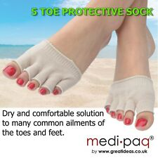 Protective Drying Toe Socks - 2 PAIRS * Blisters, Bunions, Athlete's Foot, Corns