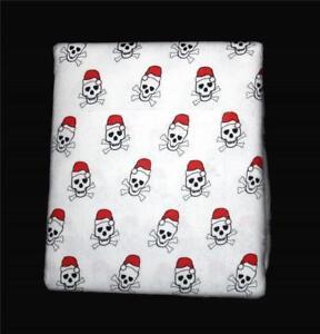 Arctic Christmas Skull Crossbones Santa Red Stocking Cap Flannel Sheet Set NIP