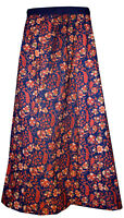 Indian 100% Cotton Women Long Skirt Hippie Chilli Print Blue Color Plus Size