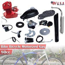 80cc 2 Stroke Cycle Motor Full Kit Bike Motorized Petrol Gas Bicycle Engine Red