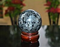 55MM Larvikite Labradorite From Norway Blue Pearl Granite Flash Sphere ball