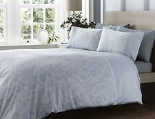SINGLE BED DUVET COVER SET LACE EFFECT BLUE 300 THREAD COUNT LUXURY FLORAL