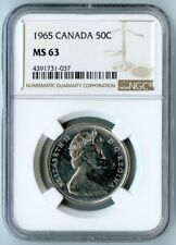 1965 CANADA NGC MS63 SILVER COAT OF ARMS HALF DOLLAR 50C!