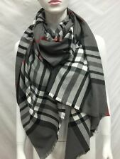 100% CASHMERE SCARF SCOTLAND OVERSIZED WRAP OR SCARF PLAID DESIGN GRAY COLOR