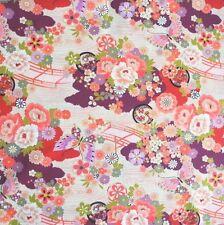 Japanese Floral Bridge Cotton Fabric Remnant 50x110cm Butterfly PC556