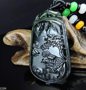 100% Natural Hand-carved Jade Pendant Jadeite Necklace landscape 121H