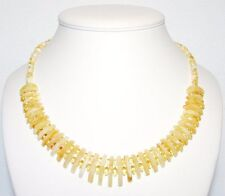 Luxury Baltic Amber Adult Necklace, Milky Color Faceted Beads Cleopatra 45 cm