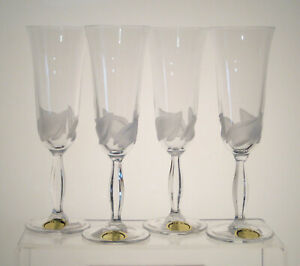 "RCR ROYAL CRYSTAL ROCK Frosted Petal Champagne Flutes 8 1/4"" SET/4, Multi Set Av"