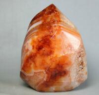 282g Natural Red Orange White Carnelian Agate flame Freeform Crystal Madagascar