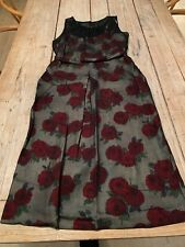 Stunning COAST Black Chiffon with Cream & Red Rose Print Fitted DRESS, Size 10