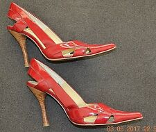 DOLLHOUSE- RED PATENT LEATHER HEELS- SZ 8M- USED ONCE