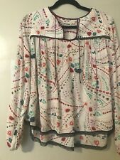Zadig & Voltaire Skeleton Flowers Butterflies Cream Blouse Xs