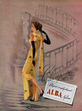 Alba Nylon Stockings LINGERIE Simply Elegant CHAMPAGNE Good Girl Art 1947 Ad