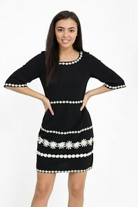 Women's Black Dress With Daisy Flower  Detail Work and Zip on Back sizes 8-14