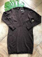 Vince Womens Large Browm Alpaca/wool/cashmere V Neck Long Sleeve Sweater Dress Q