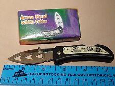 """Frost Cutlery Arrow Head Wildlife Folder Knife 15-009Wolf  3"""" Closed NIB"""