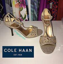 Women's Cole Haan Heels Gold Tweed Herringbone Beaded ankle strap Open Toe Sz 9b