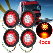 "4pcs Truck Trailer Lorry 12V/24V 4.37"" Round LED Brake Stop Turn Tail Light Lamp"