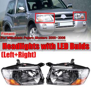 Pair Headlights Head lamps lights w/ Bulds For Mitsubishi Pajero Montero 2000-06