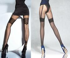 "Fiore ""Beverly"" Mock Suspender Stockings Tights 20 den Back Seamed Pattern New"