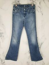 7 For All Mankind Womens Size 26 A Pocket Light Wash Low Rise Flare Jeans