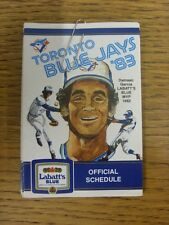 1983 Fixture Card: Baseball - Toronto Blue Jays (fold out style). Any faults wit