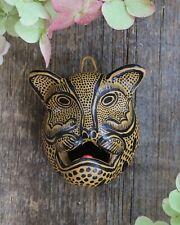 Mask Jaguar Leopard Handmade Clay Black & Gold Chiapas Mexico Folk Art Tribal