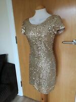 Ladies RARE Dress Size 10 Gold Full Sequin Party Evening