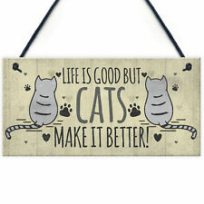 Funny Cat Signs For Home Cat House Wall Plaque Sign Xmas Gift For Animal Lovers