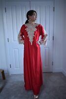 Arabian abaya Kaftan silky lace appliqué maxi dress bohemian boho S to XL
