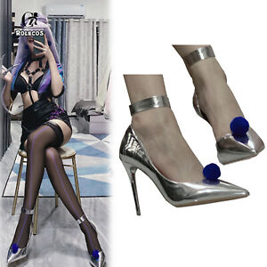 LOL All Out KDA Evelynn High Heels Boots Silver Cosplay Shoes Cos Props