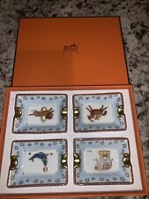 Hermes Personal Ash Trays Circus Animals Porcelain set of 4 New