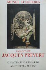 """""""IMAGES DE JACQUES PREVERT"""" Affiche originale entoilée Litho MOURLOT (600 ex.)"""