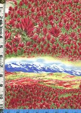 Fabric Northcott State Flowers INDIAN PAINTBRUSH WYOMING OOP RARE