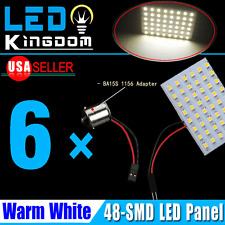 6X RV Camper Map Dome Door Warm White 48-SMD Panel LED Light+ 1156 BA15S Adapter