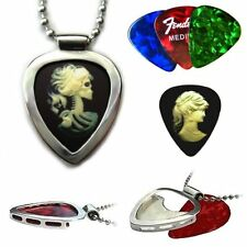 CAMEO guitar pick & Chrome Guitar pick Holder pendant Victorian Goth PICKBAY NEW