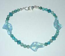 Designer Beaded Bracelet wCzech Glass Greyhound Head Beads, Jasper, Swarovski