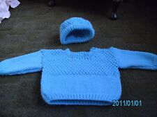 Babies New Hand Knitted Jumper and Hat Size 19 inch chest