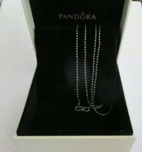 PANDORA - S clasp mini Rice Ball chain sterling silver necklace 80cm 590712 OX