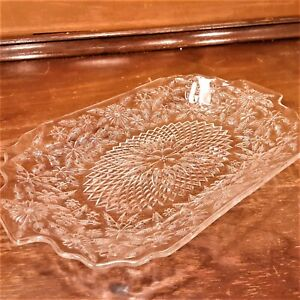Mid Century Pressed Clear Glass Rectangular Platter Tray w/ Ornate Pattern