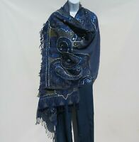 Yak/Sheep Wool Blend|Stitched Embroidery|Shawl|Handcrafted|Nepal|Blue & Black