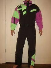 Vtg 80s FILA Color Block Mens SMALL Neon One piece Snow SKI Suit Bib Snowsuit