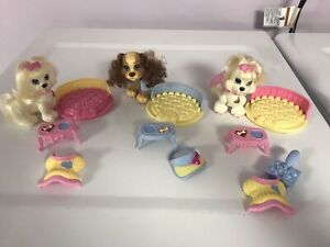 Fisher Price SNAP N STYLE DOLL PET DOG GINGER + POODLE CLOTHES & BEDS  LOT