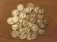 1916-1945 Mercury Dime Half Roll Mixed Dates Lot Of 25 Coins!