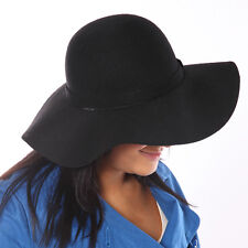 Women's wide Brim Wool Felt Hat - Black