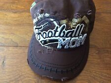 Brown Football Mom Baseball Bling Hat ,98, Adjustable Faux Distressed Women's